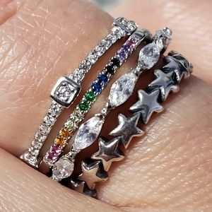 Jewelry - 925 Silver 🌟 Stars Band Stackable Eternity